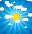 clouds and sun in the sky vector image