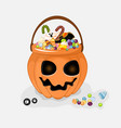 collection of halloween buckets vector image vector image