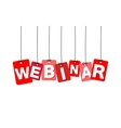 colorful hanging cardboard Tags - webinar vector image