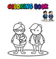 coloring page outline cute business man vector image