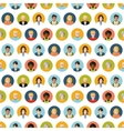Crowd of round flat people avatars seamless vector image vector image