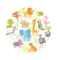 cute african animals and birds seamless pattern of vector image vector image