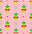 cute pineapples heart sunglasses patteon on pink vector image vector image