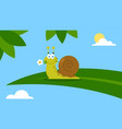 cute snail character with a flower on a leaf vector image vector image