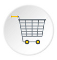empty supermarket cart with yellow handles icon vector image vector image