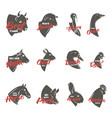 farm animal heads icon set butchery logo vector image
