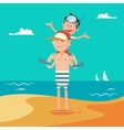 Father and Son on Summer Beach Vacation vector image vector image