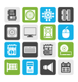Flat Computer performance and equipment icons vector image vector image