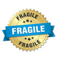 fragile 3d gold badge with blue ribbon vector image vector image