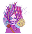 girl symbolizes the zodiac sign sagittarius vector image vector image