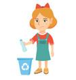 girl throwing plastic bottle in recycle bin vector image vector image