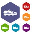 golf shoe icons set hexagon vector image vector image