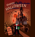 happy halloween pumpkin in the cemetery abandoned vector image vector image