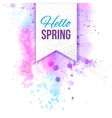 hello spring text bage over watercolor background vector image vector image