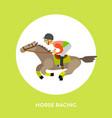 horse racing rider equestrian kind sport vector image vector image