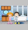 kids brushing teeth in bathroom vector image vector image