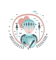 Knight Fairy Tale Character Girly Sticker In Round vector image vector image