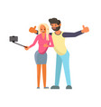 lover couple making a selfie vector image vector image