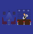 night club bartender in empty hall with drink vector image vector image