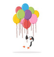 penguin holding group balloons colorful flat vector image