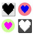 pixel heart flat icon vector image