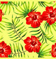 red hibiscus yellow background pattern vector image vector image