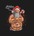 santa claus with tattoo graphi vector image vector image