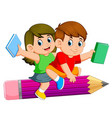 school kids riding a pencil vector image