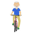 senior man riding a bicycle over white background vector image