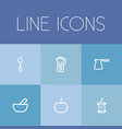 set of 6 editable cooking outline icons includes vector image vector image