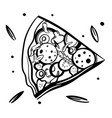 sketch pizza slice hand drawing pizza vector image