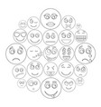 smile icon set outline style vector image vector image
