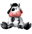 soft plush toy sitting spotted cow isolated on vector image