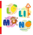spanish alphabet lemon key monkey orange vector image vector image