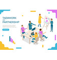 teamwork and partnership concept landing web page vector image