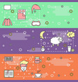 thin line art sleep web banner template set vector image
