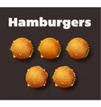 Top view of hamburgers Realistic vector image
