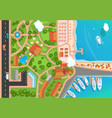 top view resort town park road cars sea vector image
