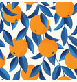 tropical seamless pattern with oranges fruit vector image vector image