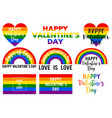 valentines day cards rainbow flag lgbt vector image vector image