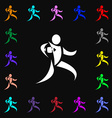 Rugby player running with ball icon sign Lots of vector image