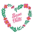 Save the date floral heart card Vintage wedding vector image