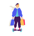 a guy on a scooter with purchases positive flat vector image
