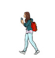 a teenage girl with a backpack vector image vector image