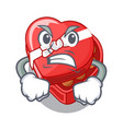 angry chovolate heart box isolated with characters vector image vector image