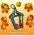 autumn set candle holder leaves and apples vector image