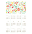 Beautiful floral calendar for year 2015 vector image vector image
