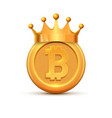 bitcoin crown king logo gold bitcoin coin cartoon vector image