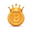 bitcoin crown king logo gold coin cartoon vector image vector image