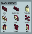 black friday color outline isometric icons vector image vector image